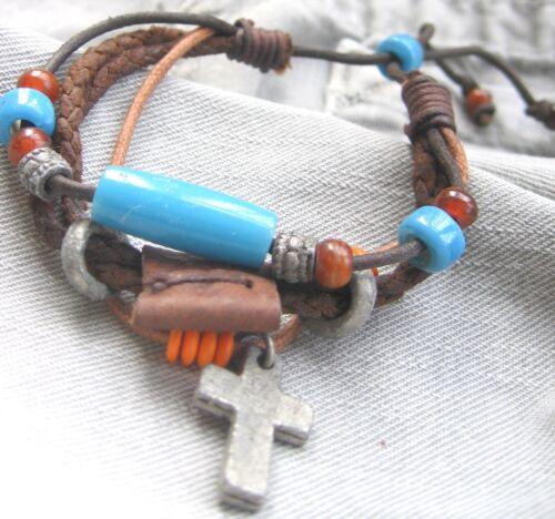 Surferarmband Leder Armband Herren Surfer Damen Kreuz blau braun Herrenarmband