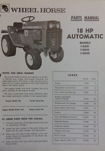Details about Wheel Horse D-180 18 HP 1973 Garden Tractor Parts, Haban on