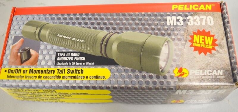 Pelican M3 3370 Green  Tactical Flashlight, Xenon Beam W Case and batteries  cheap sale