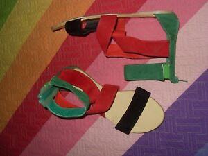 SANDALIAS-BOTINES-ROMANAS-rojo-negro-verde-JENIKA-sintetica-con-goma-tobillo