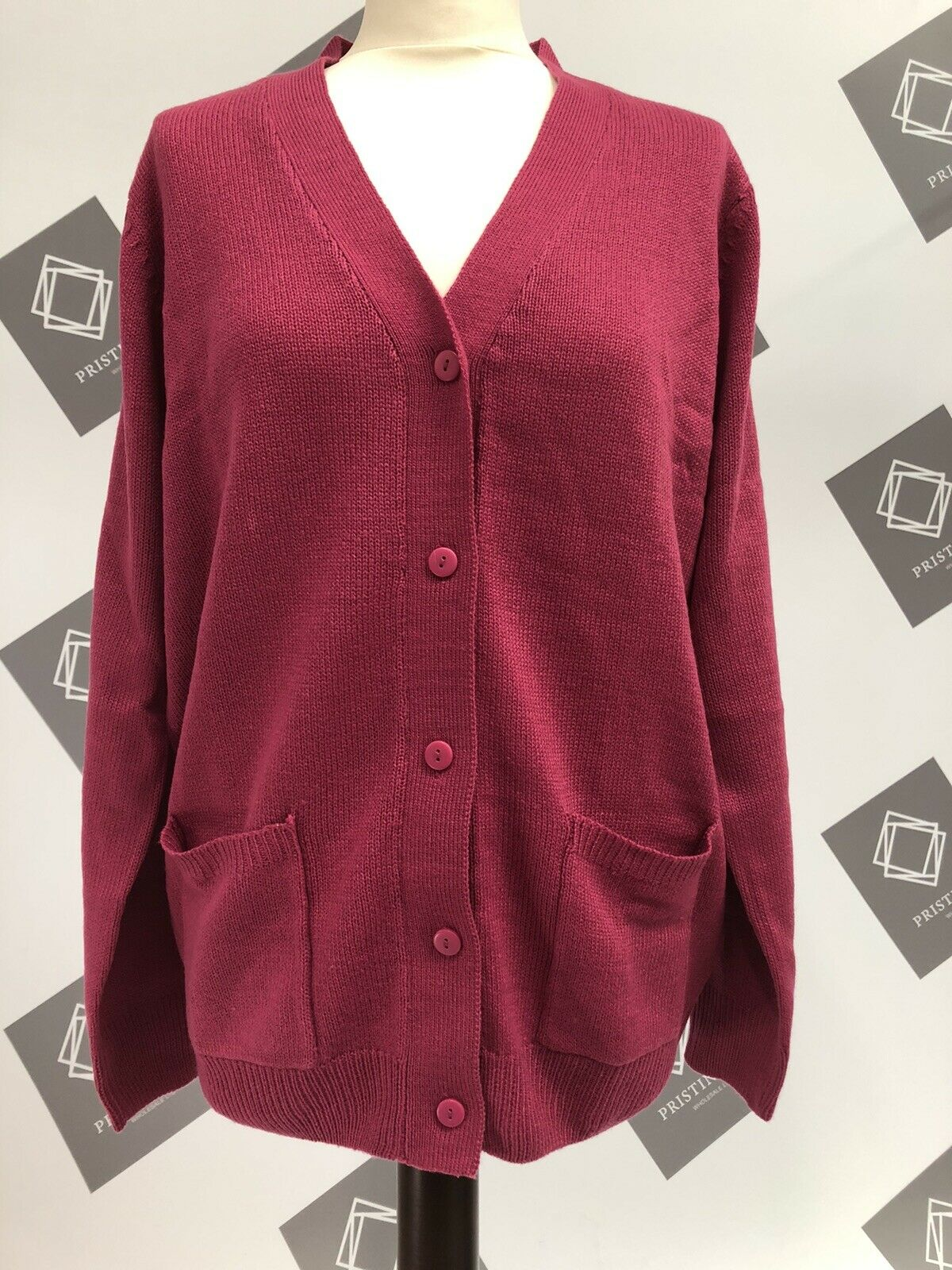 Damart Soft Easy Care Cardigan (1416) Dark Fuschia
