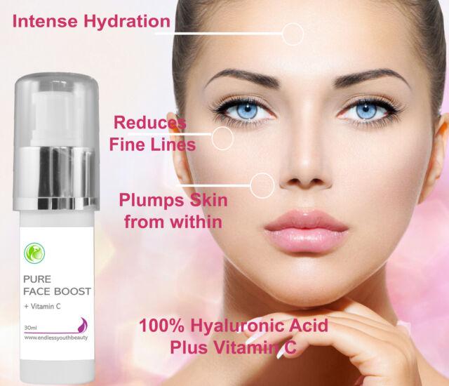 Pure Natural 100% Hyaluronic Acid + 20%Vitamin C Serum Anti Ageing  30 ml