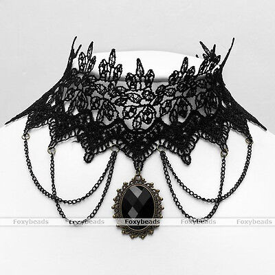Punk Black Collar Beaded Baroque Gothic Lace Choker Chain Necklace New Gift