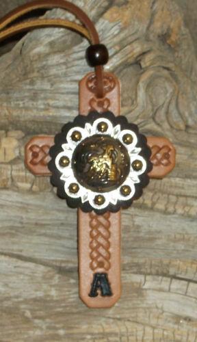"G/&E Custom Personalized Saddle Cross  1 3//4/"" Barrel Racer  Berry Cross Concho"