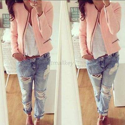 Fashion Women's Slim Casual Warm Blazer Suit Jacket Coat Outerwear Soft Pink