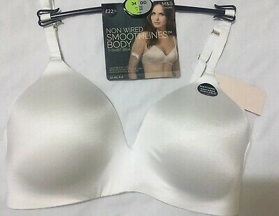 M/&S SMOOTHLINES Smoothing Back /& Underarm Non Wired T Shirt Bra WHITE SIZE 34E