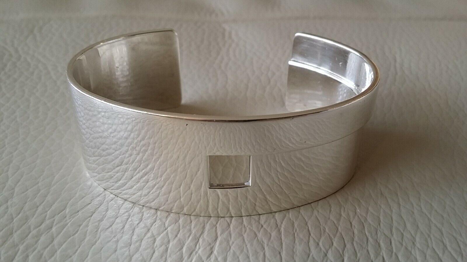 "GUCCI Women's Cuff Bracelet ""G"" Sterling Silver 0… - image 1"