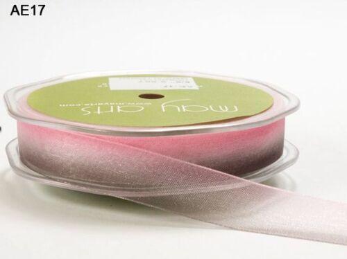Pink//Brown May Arts SHEER//OMBRE Ribbon 5//8 Inch AE17-5 Yards