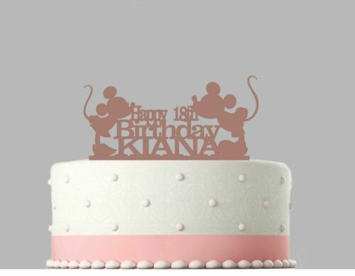 Mickey Mouse Birthday Personalised Acrylic Cake Topper Rose Gold mirror.100