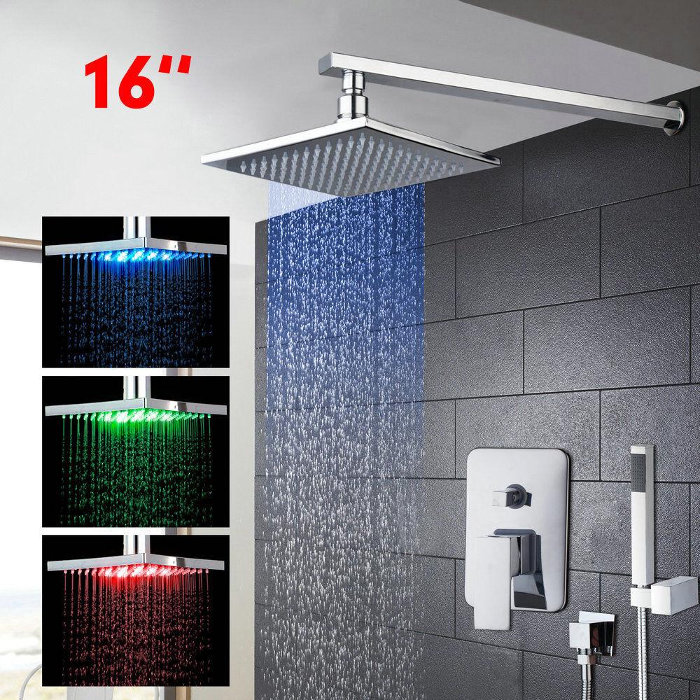 Montaje en techo LED 16  latón cabeza de ducha de lluvia con rociador de ducha de mano