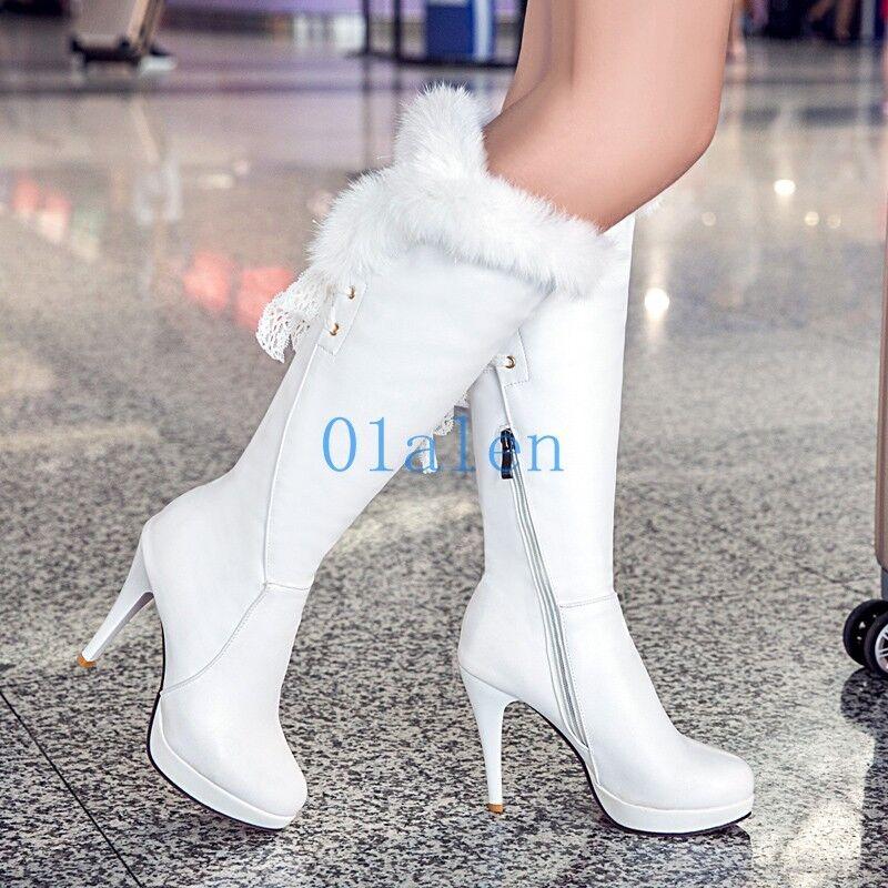 Womens Knee The Boots Fur Trim Lace Stiletto Heels Zip Plus Size US 4-10.5 shoes
