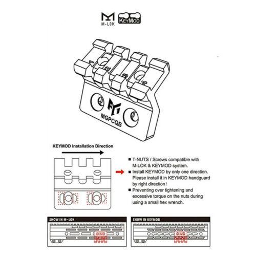 2PCS MLOK M-LOK Keymod Offset Rail Mount//adapter  For Tactical Flashlight