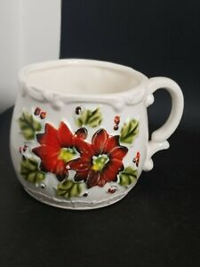 Vtg Poinsettia Holly  Berry  Porcelain Mug Japan  Christmas Holiday Scroll Edge