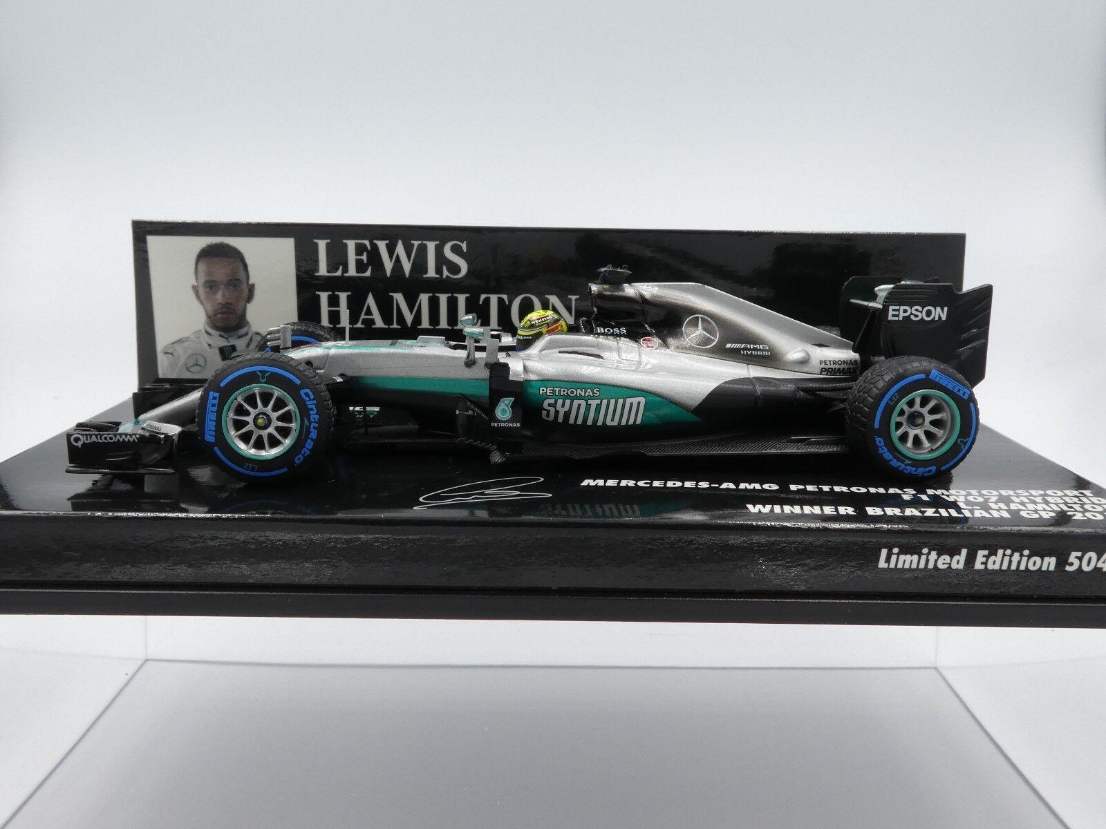 Minichamps 1 43 Lewis Hamilton Mercedes AMG W07   44 Vincitore GP Brasiliano F1 2016