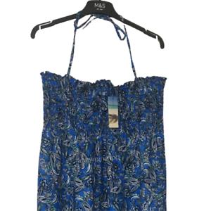 M/&S Ladies Dress Blue Paisley Shirred Bandeau Aline Maxi Beach 18 BNWT Marks