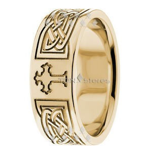 Details about Mens 8mm Cross Wedding Band 10k Solid Yellow Gold Ring  Religious Christian Ring