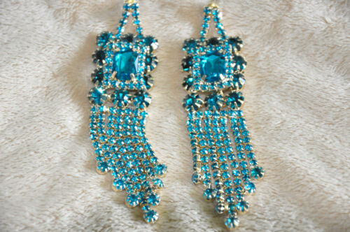 BEVERLY HILLS CZ CRYSTAL NECKLACE AND EARRINGS SET BLUE MADE IN USA MSRP $600.0