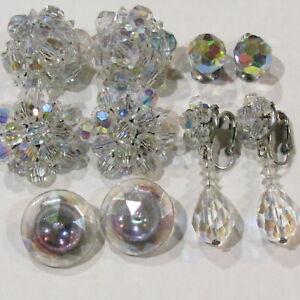 Vintage Large Aurora Borealis Crystal Cluster Earrings Item K # 2224