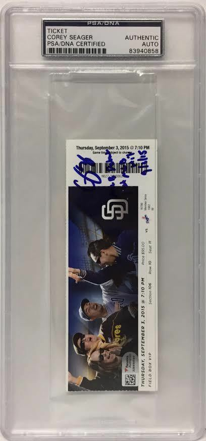 Corey Seager Signed MLB Debut Ticket