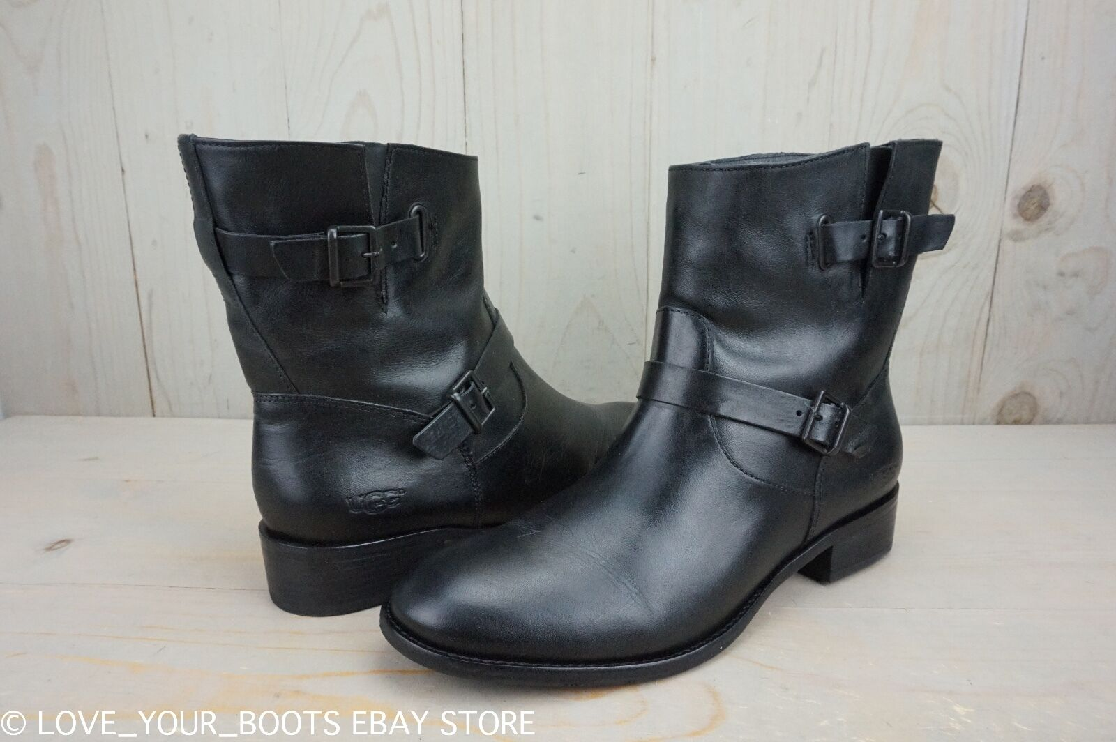 90f3d63cce3 UGG Fletcher Black Leather Sophisticated Moto BOOTS Womens US 11 IB