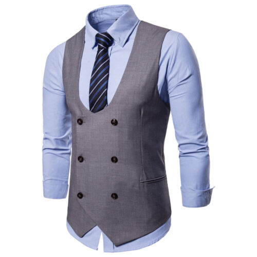 Mens Formal Business Dress Vest Wedding Double Breasted Classic Waist coat M-4XL