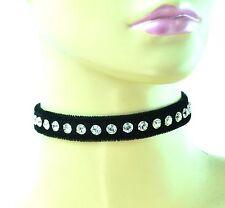 Black Velvet Crystal Rhinestone Sexy Choker Fetish Punk Clubware Collar