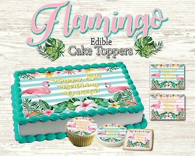 Superb Flamingo Birthday Cake Topper Comestible Photo Sucre Feuille Decal Personalised Birthday Cards Veneteletsinfo