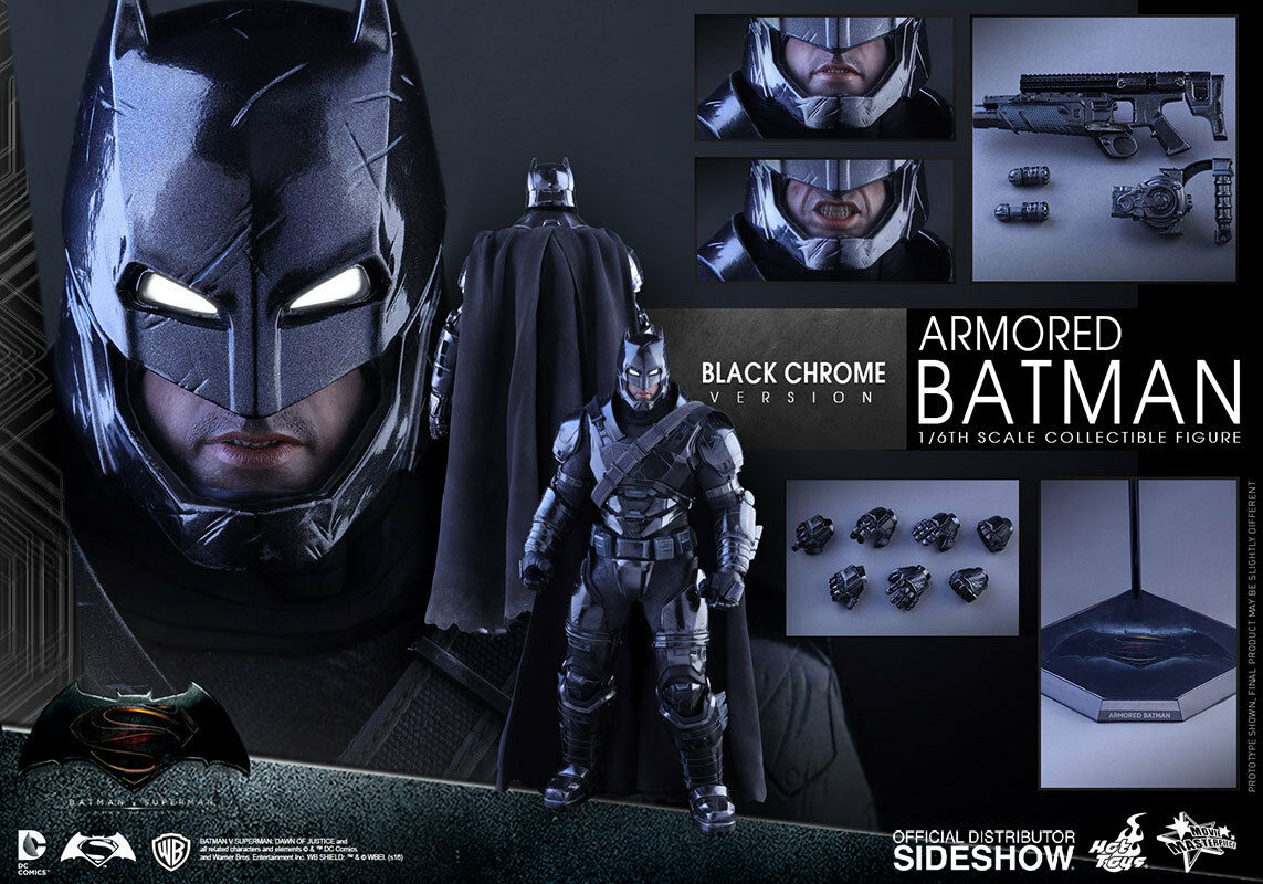 ArmoROT Batman  chrome version Dawn Of Justice 1/6  Hot Toys Sideshow  Hot mib