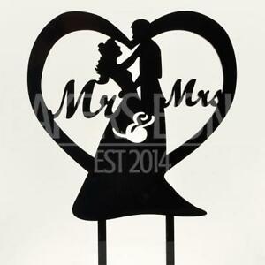 Mr & Mrs Love Cœur Acrylique Mariage Cake Topper Silhouette Mariée Et Marié-afficher Le Titre D'origine