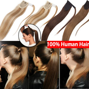 Thick Real Human Remy Hair Ponytail Extensions Wrap Around ...