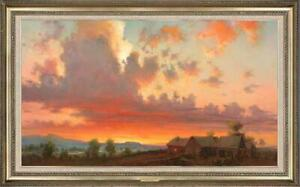 Hand-painted-Original-Oil-painting-art-Landscape-Sunset-on-Canvas-24-034-X40-034