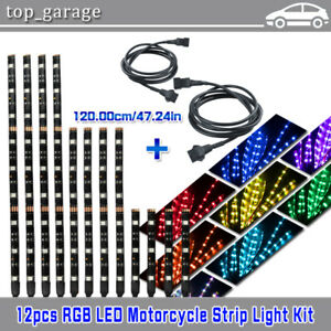 Details about Motorcycle LED Neon Under Glow Lights Strip Kit For Harley on