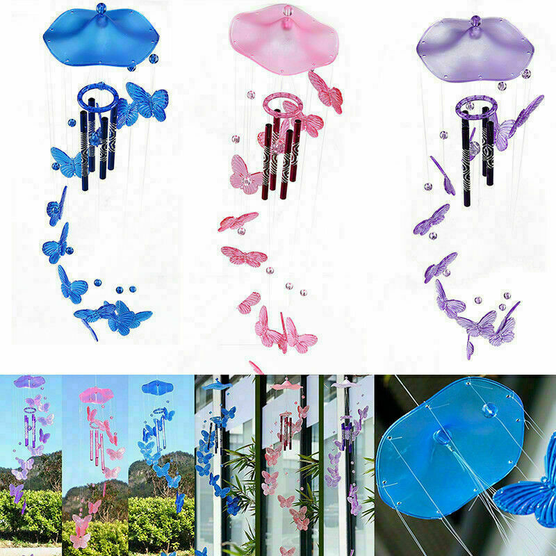 Butterfly Wind Chime Bell Window Garden Yard Indoor Hanging Decor Ornament Gift