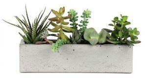Concrete-Windowsill-Planter-12-Inch-Flower-Pot-Handmade-Home-amp-Garden-Decor-Gray