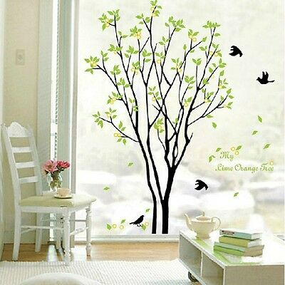 Huge Birds Sing On the Tree Removable Wall Stickers Decals Decor New Art 90*60cm