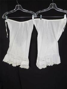 ANTIQUE-SIZE-MEDIUM-VICTORIAN-EDWARDIAN-HAND-EMBROIDERED-WHITE-COTTON-BLOOMERS