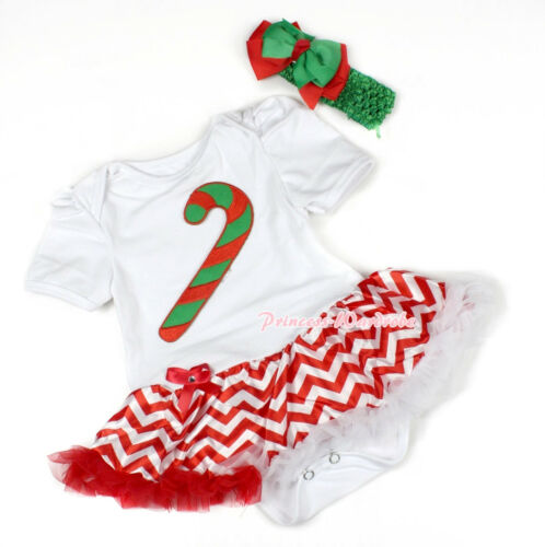 XMAS White Bodysuit Christmas Stick Candy Cane Red White Wave Baby Dress NB-12M