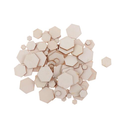 Natürliche sechseckige unfertige Holzspan-Verschönerung 100Pieces für DIY