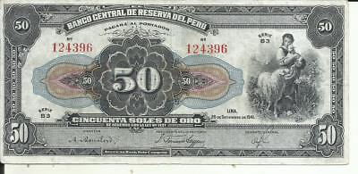 6RW 09ABR VF-XF CONDITION PERU 10 SOLES DE ORO 1944