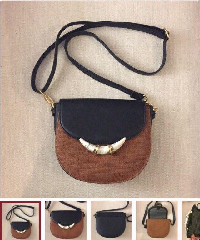Stella Dot Chelsea Bag Pre-Owned CrossBody/Shoulder Blk/Brn Tortoise Shell Magnt