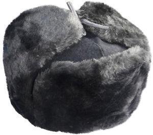 f2fb06288 Details about Woolen top ushanka winter hat. Gray faux fur. Trapper Bomber  Ear Flaps Russian