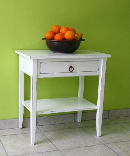 Massivholz Beistelltisch weiß antik shabby Nachttisch Nachtschrank Nachtkonsole