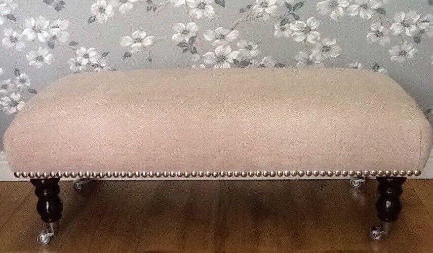 A Quality Footstool Stool In Laura Ashley Edwin Chenille Blaush Fabric