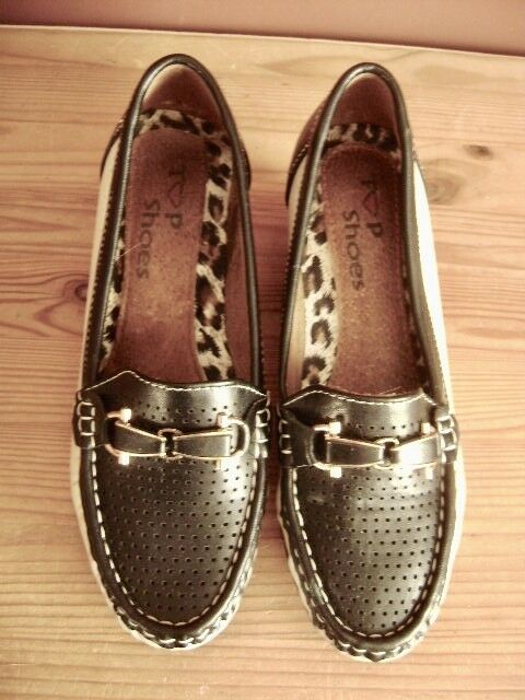 @ Top shoes @ Moccasin Loafers Black White Size 37 UK 4 Us 6