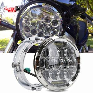 Kawasaki-VN-Vulcan-500-750-800-900-1500-1600-7-034-Chrome-LED-Headlight-Hi-Lo-Beam