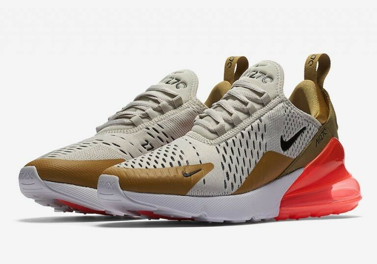 Nike Air Max 270 Women's Shoes Size 12 Flint Gold/Light Bone Style AH 6789 700