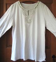 J.jill Tee M $59 Silk Trimmed Sequined White