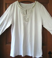 J.jill Tee M $59 Silk Trimmed Sequined White