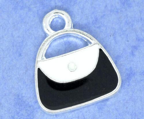 5 x Handbag Charm-Silver Plate /& smalto 15 x 21mm-stesso giorno Affrancatura