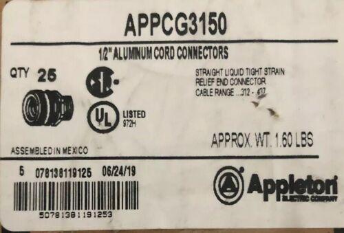 "Appleton CG3150 1//2"" Aluminum Cord Connector Range—.312-.417"